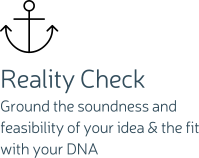 Reality Check Ground the soundness and feasibility of your idea & the fit with your DNA
